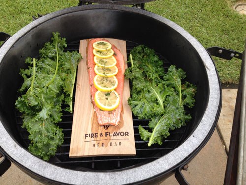 Kale & Red Oak Planked Salmon
