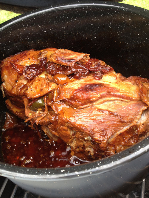 Dr. Pepper Pulled Pork Ready to Come off the BGE